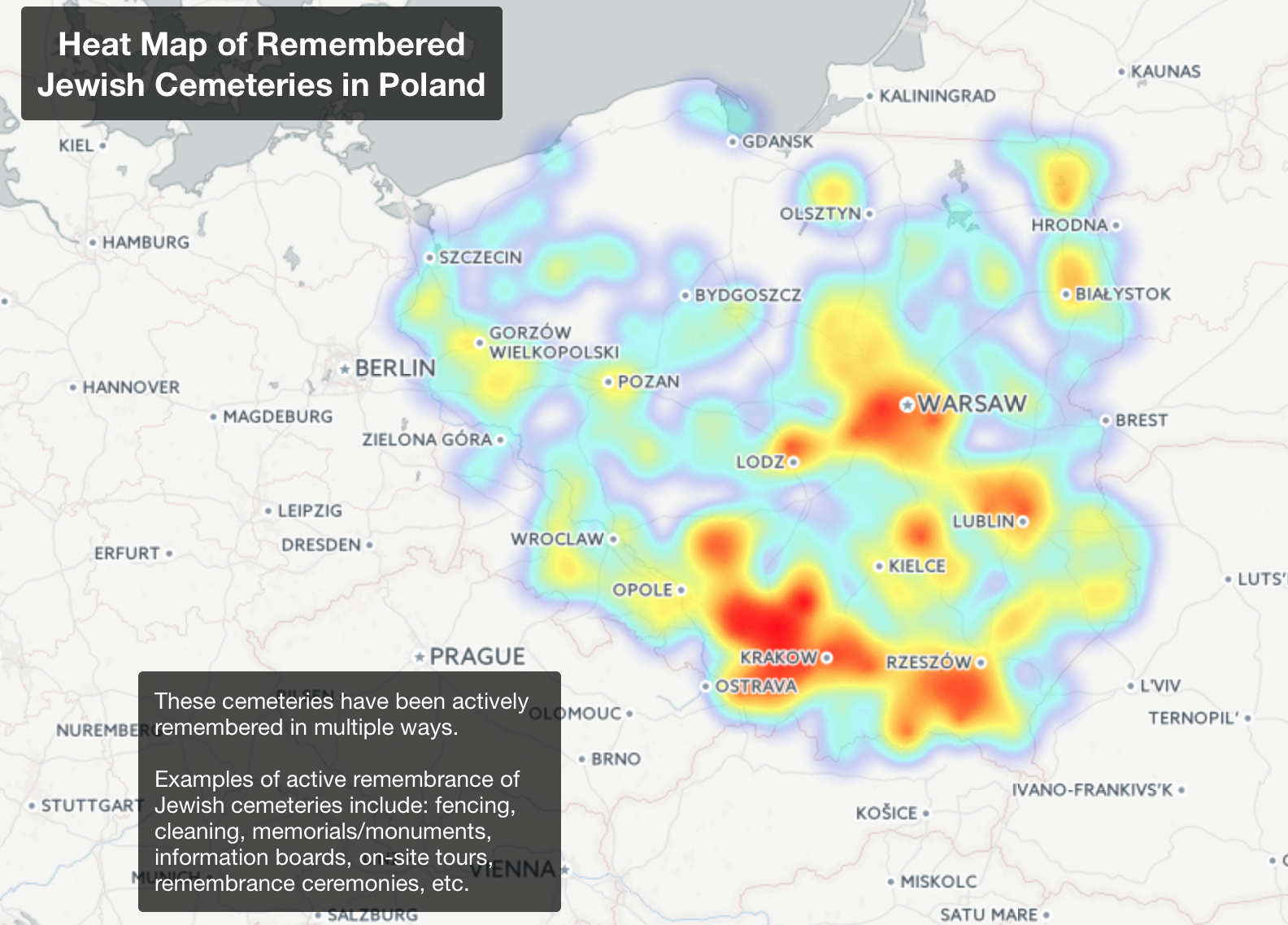 Southern Poland Map.Final Project Mapping The Remembrance Of Jewish Cemeteries In